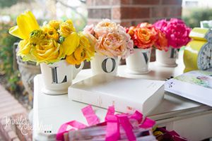 Table decorated with LOVE